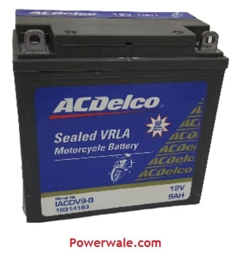 Acdelco 9Ah Sealed Vrla Motorcycle Battery