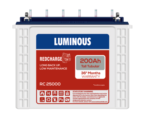Luminous 12V 200Ah Redcharge Tall Tubular Battery