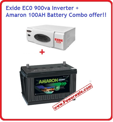 Exide Eco 900Va Home Ups Inverter Amaron 100Ah Battery Cr1000h29r Combo