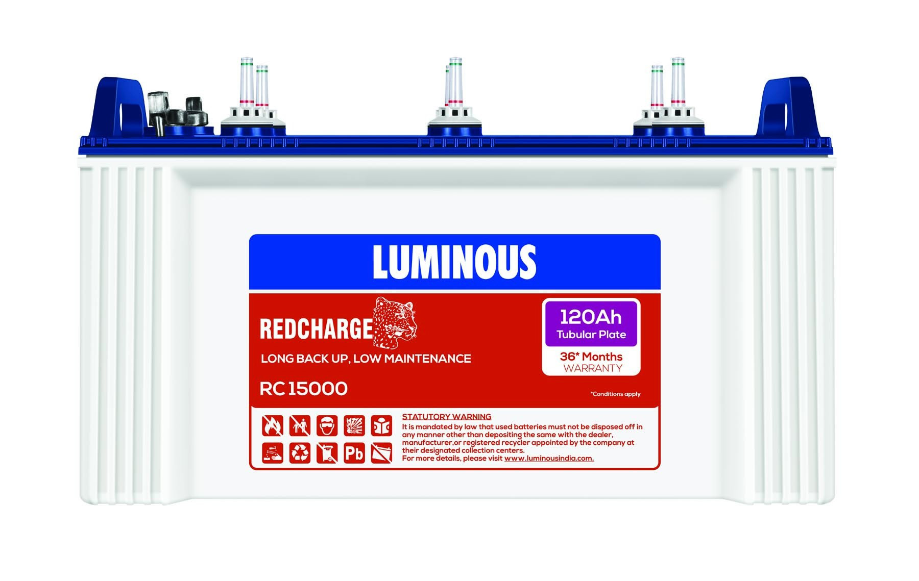 Luminous 12V 120Ah Redcharge Tall Tubular Battery Rc 15000