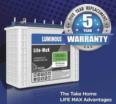 Luminous Life Max Lm18075 150Ah Tall Tubular Battery 75 Months Warranty