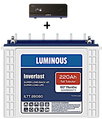 LUMINOUS ZELIO 1100+ UPS WITH ILTT 26060 220AH TALL TUBULAR BATTERY SET