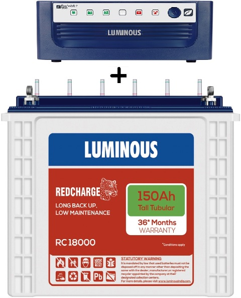 Luminous Eco Volt 1050+ Ups With Rc18000 150Ah Tall Tubular Battery