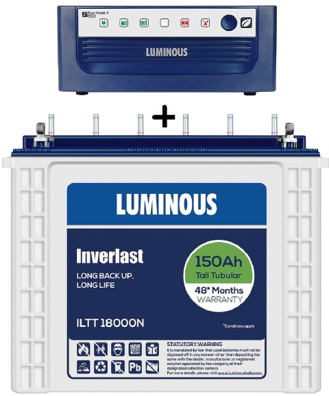 Luminous Eco Watt 1050+ Ups With Iltt 18000N 150Ah Tall Tubular Battery