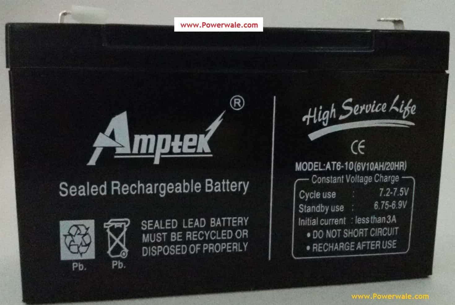 Amptek 6V 10Ah Rechargeable Sealed Battery For Ups Toys Solar etc