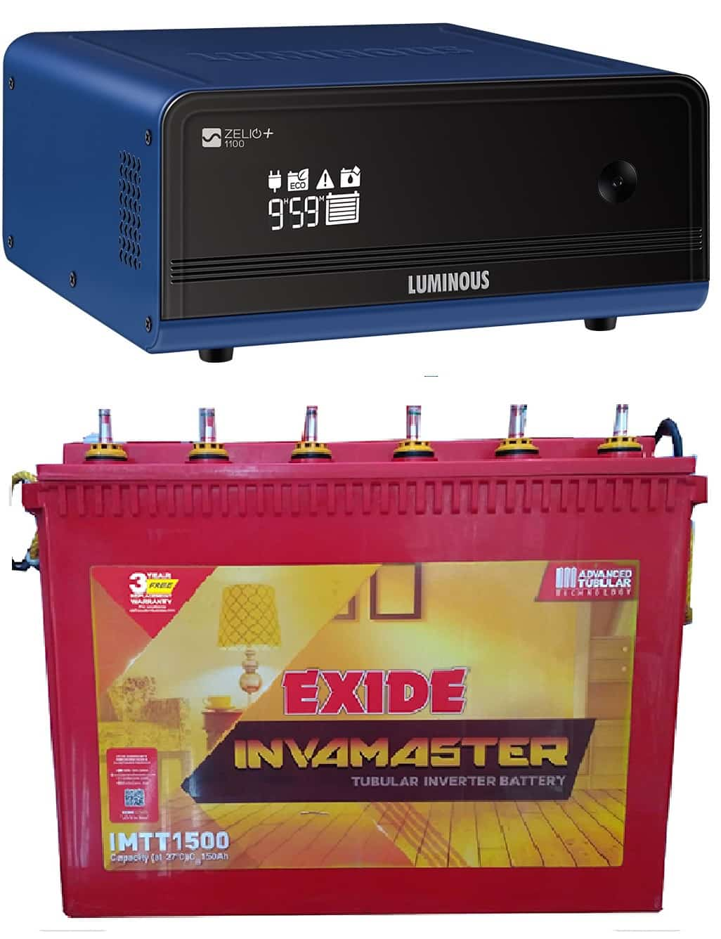 Luminous Zelio 1100va + Exide 150AH Tubular Battery Combo Offer