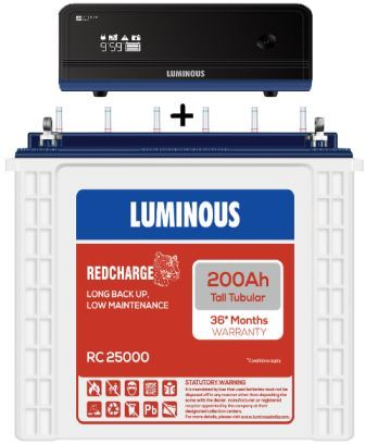 Luminous Zelio 1100Va + Luminous 200 Ah Tall Tubular Battery more backup Combo Offer
