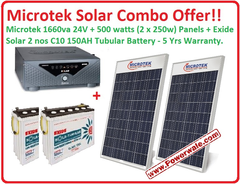 1.6Kw Hybrid Solar Kit with 24v 150AH batteries and 500watts Solar Panel