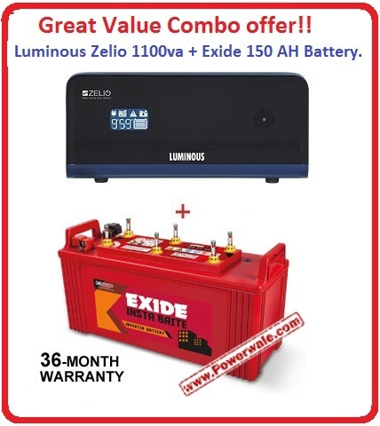Luminous Zelio 1100va + Exide150 AH Insta Brite inverter Battery Great value  Combo Offer
