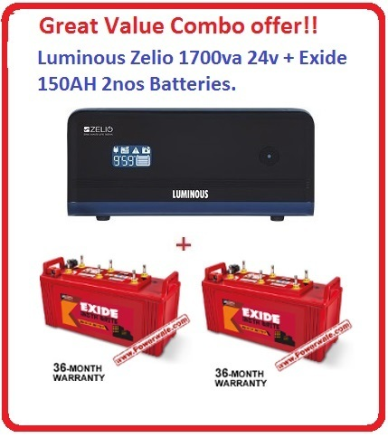 Luminous Zelio 1700va 24v + 2nos Exide150 AH Insta Brite inverter Battery Great value  Combo Offer