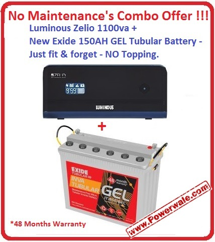 Luminous Zelio 1100va Exide150 AH GEL Tall Tubular Battery No Maintenances Combo Offer