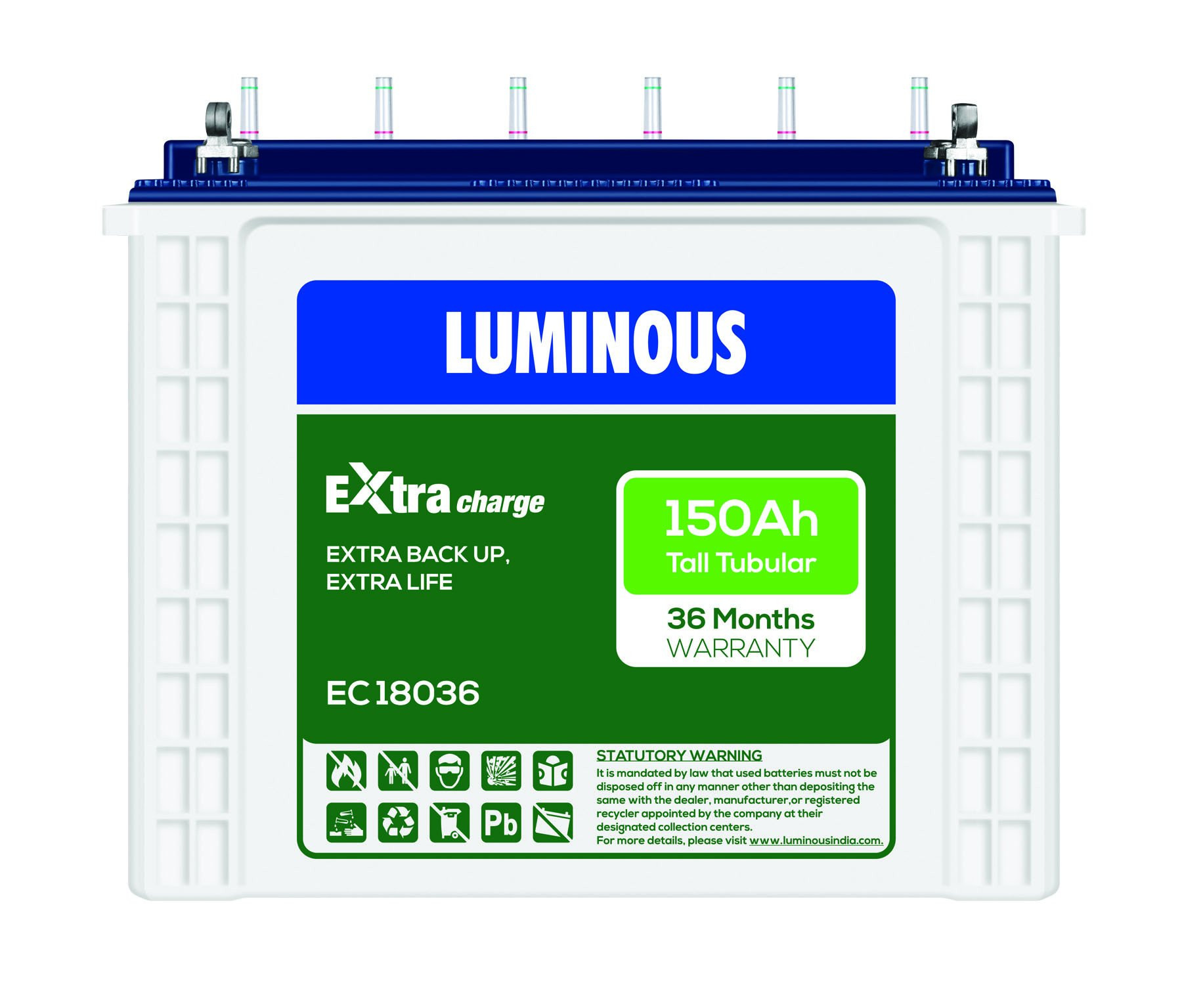 LUMINOUS EXtra Charge 150AH TALL TUBULAR BATTERY EC 18036