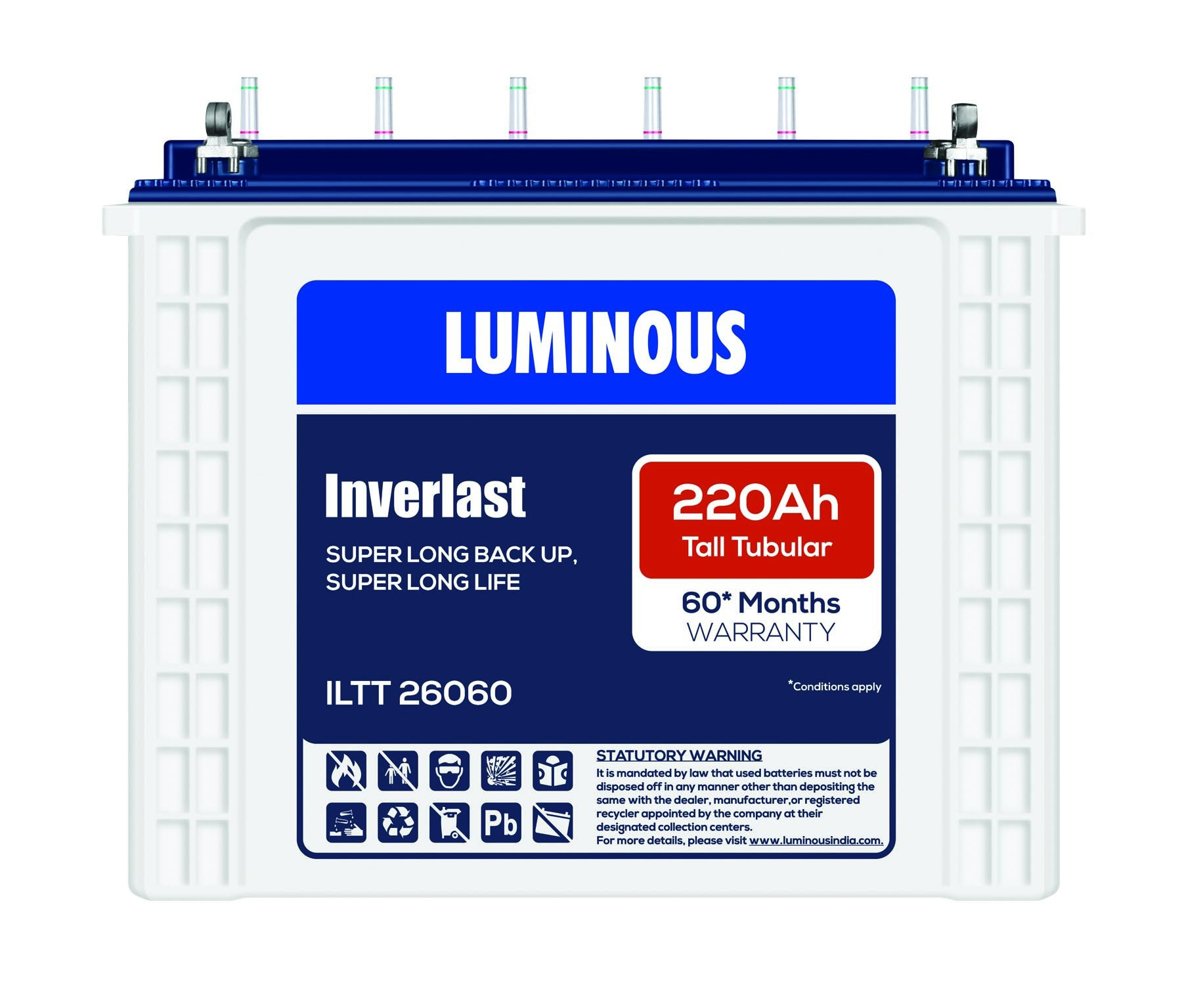 Luminous 220AH Tubular Battery ILTT 26060