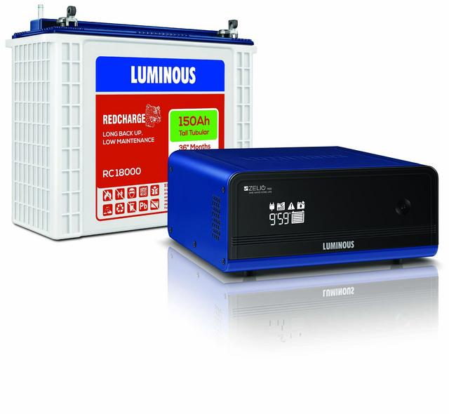 Luminous Zelio 1100VA UPS with Luminous 150Ah Tall Tubular Battery RC18000