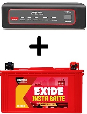 Exide XTATIC 650VA Home UPS with 100AH IB1000 Battery