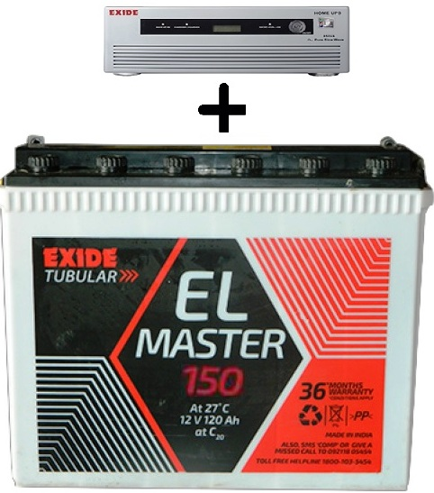 Exide 850VA Home UPS with Exide EL Master 150AH Tall Tubular Battery