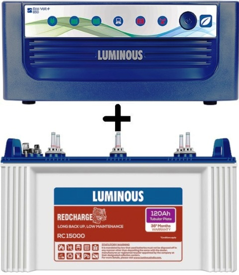 Luminous Eco Volt 850+ Ups With RC 15000 120Ah Tubular Battery
