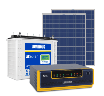 Luminous 850VA Inverter + 150Ah Battery + (150x2) 300 Watts Panel Solar Combo