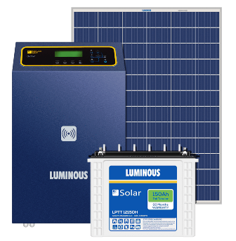 Luminous 3KW PCU + (150x4) 600Ah Battery + (250x8) 2000 Watts Panel Solar Combo