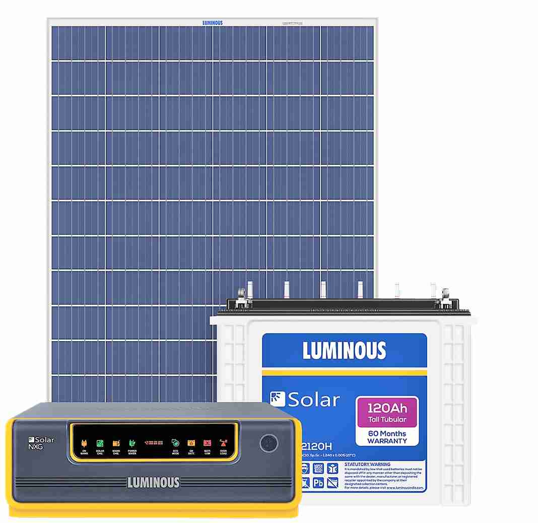 Luminous SPGS NXG1100 UPS + 120ah Battery + (100x2) 200 watts Panel Solar Combo