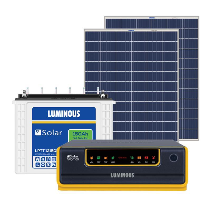 Luminous SPGS NXG34 NXG1100 UPS + 150ah Battery + (100x2) 200 watts Panel Solar Combo
