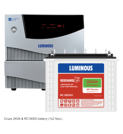 LUMINOUS CRUZE+ 2 KVA + RED CHARGE RC 18000
