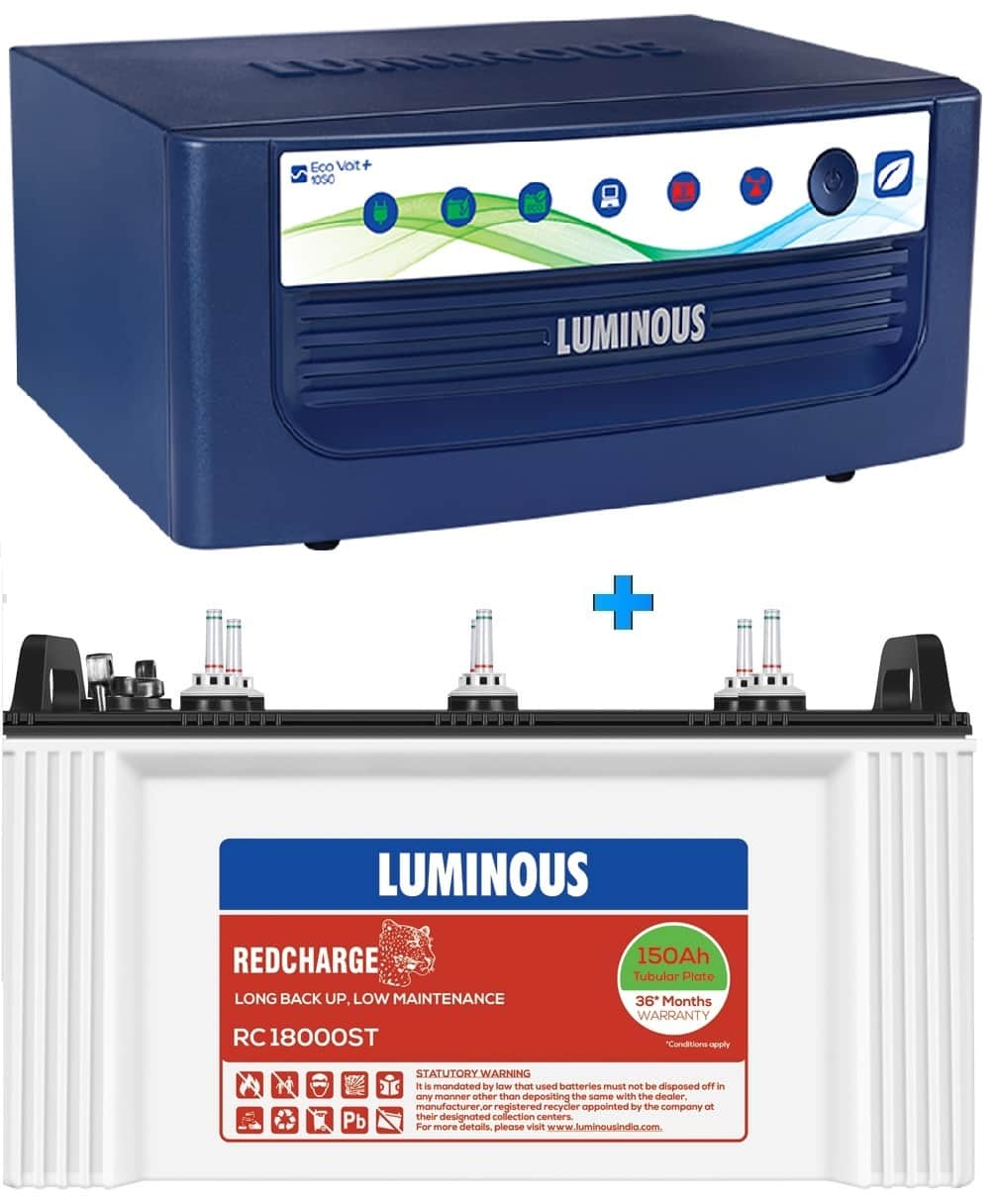 LUMINOUS 1050+ ECO VOLT + RC18000ST 150AH SHORT TUBULAR BATTERY
