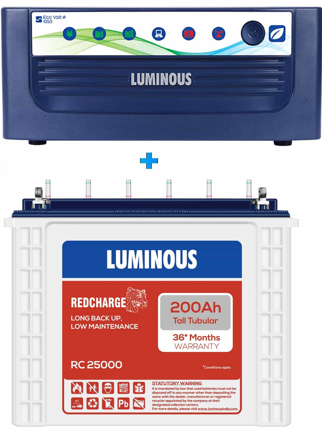 LUMINOUS 1050+ ECO VOLT + RC25000 200AH