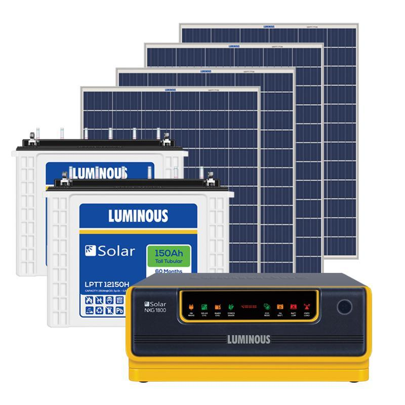 Luminous 1.5 KW Off Grid Solar System (1500VA + 150AHx2 + 975W) (8-10 Hrs Backup)